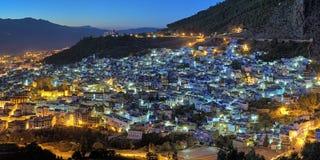 Opinião da noite de Chefchaouen, Marrocos Imagem de Stock