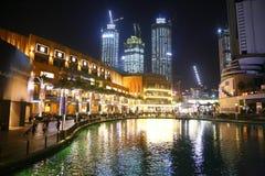 Opinião da noite de Dubai Fotografia de Stock Royalty Free