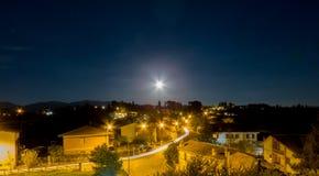 Opinião da noite de Forano Rieti Itália Fotografia de Stock Royalty Free