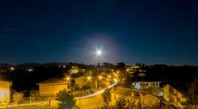 Opinião da noite de Forano Rieti Itália Foto de Stock Royalty Free
