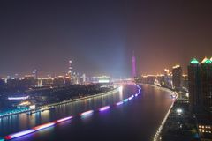 Opinião da noite de Guangzhou China imagem de stock