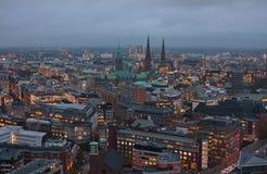 Opinião da noite de Hamburgo Foto de Stock