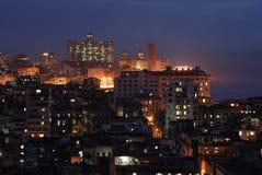 Opinião da noite de Havana, Cuba Imagens de Stock