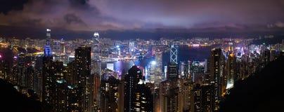 Opinião da noite de Hong Kong Foto de Stock