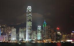 Opinião da noite de Hong Kong Fotografia de Stock