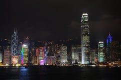 Opinião da noite de Hong Kong Imagens de Stock Royalty Free