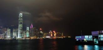 Opinião da noite de Hong Kong Imagens de Stock