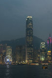 Opinião da noite de Hong Kong Fotos de Stock Royalty Free