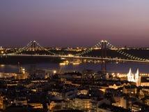 Opinião da noite de Lisboa Imagem de Stock