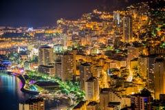 Opinião da noite de Monaco Imagem de Stock Royalty Free