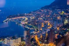 Opinião da noite de Monaco Imagem de Stock