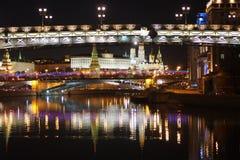 Opinião da noite de Moscou Fotos de Stock Royalty Free