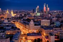 Opinião da noite de Moscovo imagem de stock