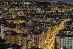 Opinião da noite de Nápoles, Itália Fotos de Stock
