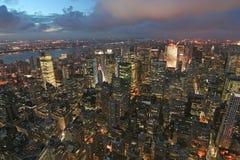 Opinião da noite de New York Fotos de Stock Royalty Free
