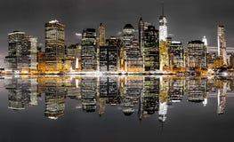 Opinião da noite de New York City Imagens de Stock Royalty Free