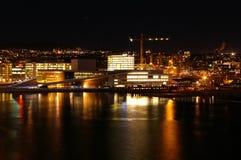Opinião da noite de Oslo Imagens de Stock Royalty Free