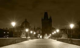Opinião da noite de Praga imagens de stock royalty free