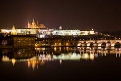 Opinião da noite de Praga. República Checa Imagens de Stock Royalty Free
