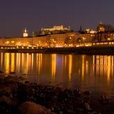 Opinião da noite de Salzburg Imagens de Stock Royalty Free