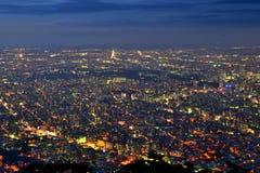 Opinião da noite de Sapporo Imagem de Stock Royalty Free