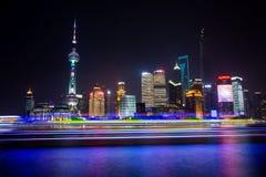 A opinião da noite de Shanghai Imagem de Stock Royalty Free