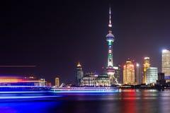 A opinião da noite de Shanghai Imagens de Stock Royalty Free