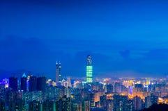 Opinião da noite de Shenzhen Fotografia de Stock