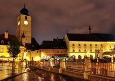 Opinião da noite de Sibiu Fotografia de Stock