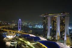 Opinião da noite de Singapura Foto de Stock Royalty Free