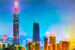 Opinião da noite de Taipei 101 Fotos de Stock