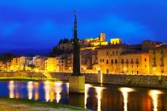 Opinião da noite de Tortosa, Espanha Imagens de Stock