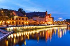 Opinião da noite de Wroclaw, Polônia Fotos de Stock Royalty Free