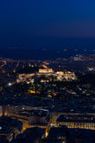Opinião da noite do Acropolis Imagem de Stock
