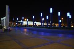 Opinião da noite do aeroporto de Tehran, Irã foto de stock