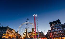Opinião da noite do carrossel do parque de diversões Foto de Stock