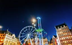 Opinião da noite do carrossel do parque de diversões Fotos de Stock Royalty Free