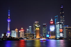 Opinião da noite do distrito de Pudong Foto de Stock