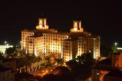 Opinião da noite do hotel nacional Cuba Fotografia de Stock