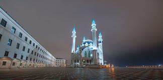 Opinião da noite do Kazan kremlin Fotografia de Stock Royalty Free