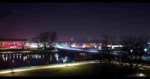 Opinião da noite do lapso de tempo de Krakow video estoque