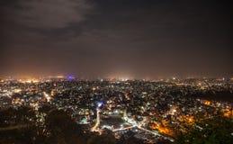 Opinião da noite do monte de Swayambunath na Kathmandu-cidade Fotografia de Stock Royalty Free