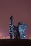 Opinião da noite do monumento Silesian dos rebeldes em Katowice Imagem de Stock