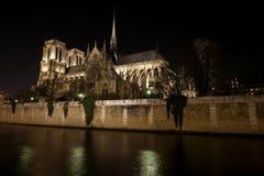 Opinião da noite do Notre Dame de Paris Imagens de Stock Royalty Free