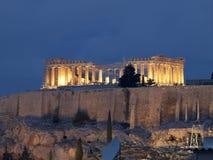 Opinião da noite do Parthenon Foto de Stock