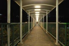 Opinião da noite do passeio verde da passagem superior para o pedestre na estrada Fotografia de Stock Royalty Free
