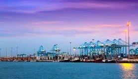 Opinião da noite do porto Fotografia de Stock