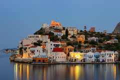Opinião da noite do porto de Megisti, ilha Grécia de Kastellorizo Imagem de Stock