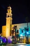 Opinião da noite do St Peter Church, na cidade velha de Jaffa foto de stock