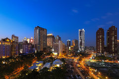 Opinião da noite em Taichung/Formosa Fotos de Stock Royalty Free
